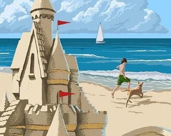 Mayflower Beach - Dennis, Massachusetts - Sand Castle (Art Prints available in multiple sizes)
