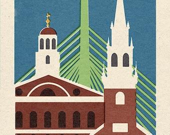 Boston, Massachusetts - Woodblock (Art Prints available in multiple sizes)