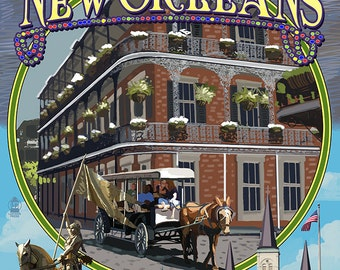 New Orleans, Louisiana - Montage (Art Prints available in multiple sizes)