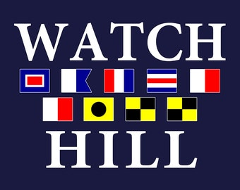 Watch Hill, Rhode Island - Nautical Flags (Art Prints available in multiple sizes)