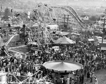Puyallup, Washington View of Fairgrounds Rollercoster Photograph (Art Prints available in multiple sizes)