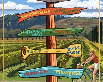 Central California Coast - Vineyard Signpost (Art Prints available in multiple sizes)