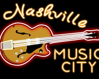 Nashville, Tennesse - Neon Guitar Sign (Art Prints available in multiple sizes)