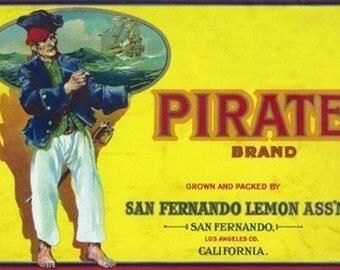 San Fernando, California - Pirate Brand Citrus Label (Art Prints available in multiple sizes)