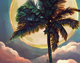 Santa Monica, California - Palm and Moon (Art Prints available in multiple sizes)