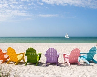 Colorful Beach Chairs (Art Prints available in multiple sizes)
