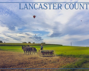 Lancaster County, Pennsylvania - Amish Farmer and Hot Air Balloons (Art Prints available in multiple sizes)