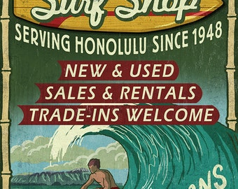 Haleiwa, Hawaii - Surf Shop Vintage Sign (Honolulu Version) (Art Prints available in multiple sizes)