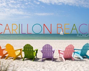 Carillon Beach, Florida - Colorful Beach Chairs (Art Prints available in multiple sizes)