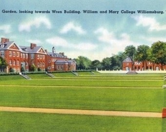Williamsburg, VA - William and Mary College View of the Sunken Garden, Wren Building (Art Prints available in multiple sizes)