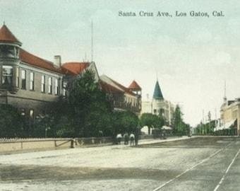 Los Gatos, California - View of Santa Cruz Avenue (Art Prints available in multiple sizes)