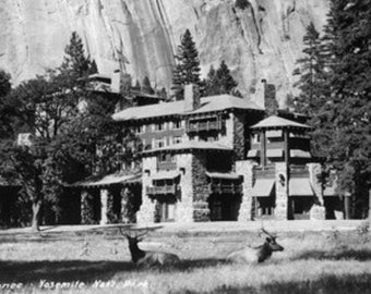 Yosemite National Park, California - Exterior View of the Ahwahnee Lodge (Art Prints available in multiple sizes)