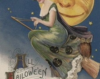 Halloween Greeting - Witch in Flight (Art Prints available in multiple sizes)