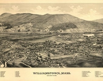 Williamstown, Massachusetts - Panoramic Map (Art Prints available in multiple sizes)