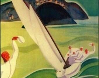 San Sebastian, Spain - San Sebastian Vintage Travel Poster (Art Prints available in multiple sizes)