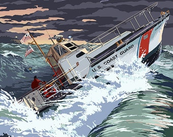Coast Guard Rescue Boat (Art Prints available in multiple sizes)