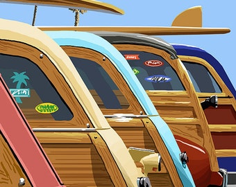 Siesta Key, Florida - Woodies Lined Up (Art Prints available in multiple sizes)