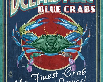 Lewes, Delaware - Blue Crabs Vintage Sign (Art Prints available in multiple sizes)