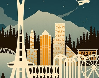 Seattle, Washington - Retro Skyline (Art Prints available in multiple sizes)
