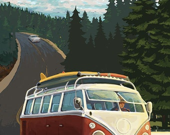Chuckanut Drive - Bellingham, WA - VW Van (Art Prints available in multiple sizes)