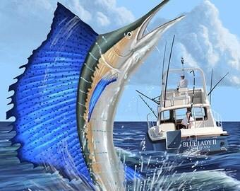 Florida Keys, Florida - Sailfish Scene (Art Prints available in multiple sizes)