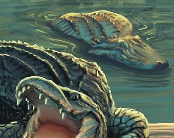 Sanibel, Florida - Alligators (Art Prints available in multiple sizes)