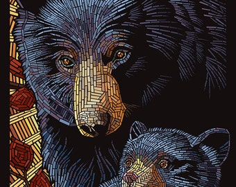 Bear - Paper Mosaic (Art Prints available in multiple sizes)