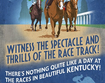 Kentucky - Horse Racing Vintage Sign (Art Prints available in multiple sizes)