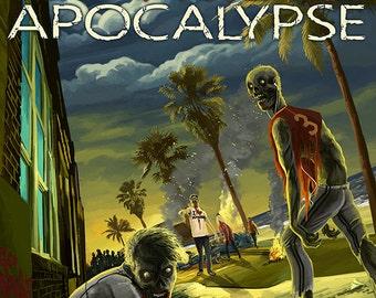 Miami, Florida - Zombie Apocalypse (Art Prints available in multiple sizes)