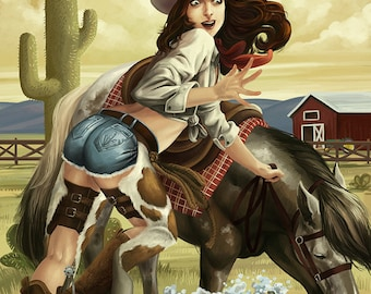 Cowgirl Pinup (Art Prints available in multiple sizes)