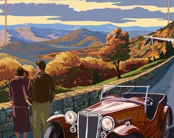 Viaduct Scene at Sunset - Blue Ridge Parkway (Art Prints available in multiple sizes)