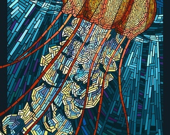 Jellyfish - Paper Mosaic (Art Prints available in multiple sizes)