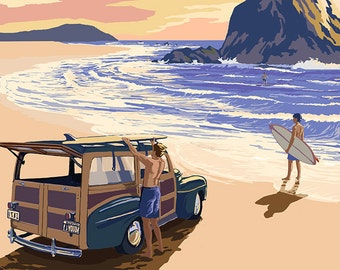 Cannon Beach, Oregon - Woody and Haystack Rock (Art Prints available in multiple sizes)