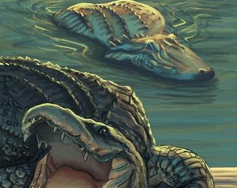 Florida - Alligators (Art Prints available in multiple sizes)