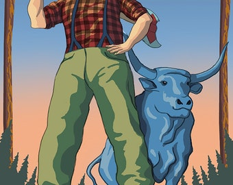 Paul Bunyan - Wisconsin (Art Prints available in multiple sizes)