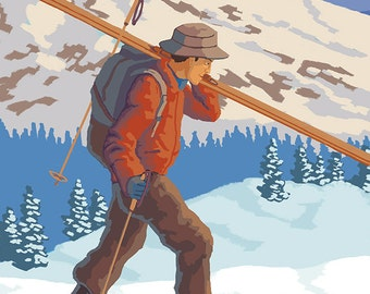 Whitefish, Montana - Skier Carrying (Art Prints available in multiple sizes)