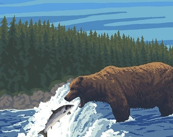 Bear Fishing - Colorado (Art Prints available in multiple sizes)
