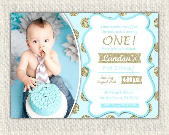 1st Birthday Invitation Gold and Blue Prince Invitations Gold and – Prince 1st Birthday Invitations