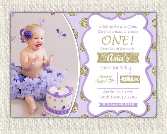 First Birthday Invitation Gold And Purple Princess Invitations - 1st birthday invitations girl purple