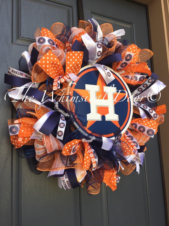 Houston Astros Decomesh Wreath Baseball Wreath