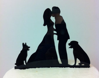 Silhouette Couple Pet Wedding Cake Topper, Couple With Dog Wedding Topper, MADE IN USA