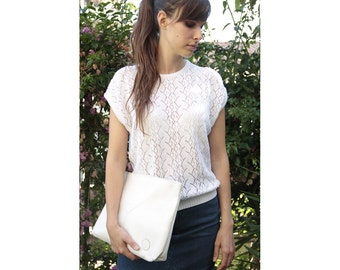 1980's sleeveless embroidery sweater, White Crochet Top white