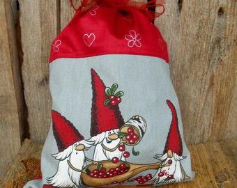 Swedish Christmas Santa Sack Scandinavian Christmas Gift Bag  Christmas Gift Sack Gnome Elf Tomte Christmas Gift Wrap Nordic Christmas