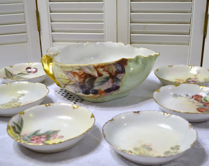 Vintage Haviland Limoges Fruit Bowl  with 5 Small Bowls France PanchosPorch