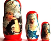 Russian Nesting Dolls Real Wood Matryoshka in Decoupage technique 3 pieces