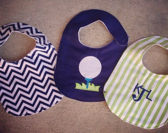 Set of 3 Navy and Green Golf Baby Bibs