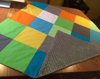 Patchwork Minky Blanket, Newborn name blanket, Minky Baby blanket, Minky blanket, Personalized Minky blanket, Baby boy minky blanket