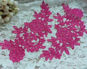 Hot Pink Lace Applique Pair for Weddings, Jewelry, Headbands, Bridal, Costume Design