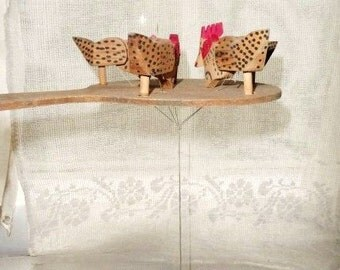 Chickens Pecking Vintage Paddle Game- Chicks Pecking Corn on Ground Paddle Toy- Folk Art Action Toy- Handmade Primitive Hand Held Game