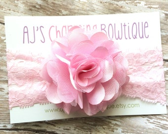 Pink satin mesh flower headband